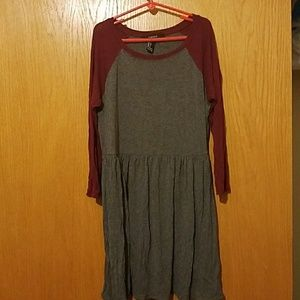 Grey and maroon forever 21 long shirt